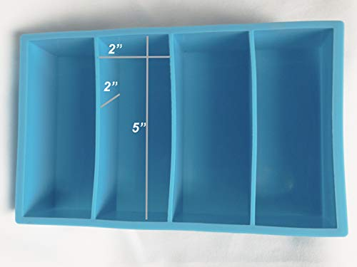 Large Blue Silicone 4 Cavity Resin Casting Mold 2X2X5 Pen Blanks Knife Scales Call Blanks ...