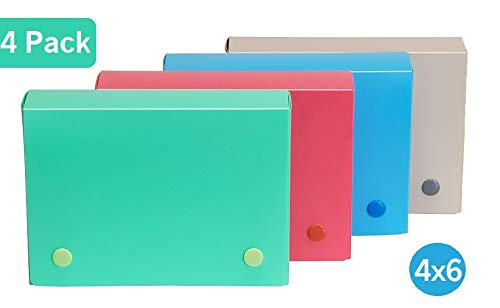 - 1InTheOffice Index Card Case, 4X 6 Index Card Holder, Assorted Colors (4 Pack)