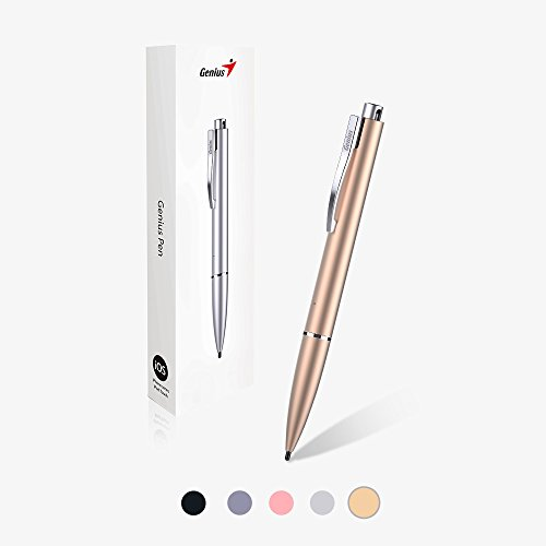 Genius Pen GP-B200 - Incredible Smooth and Accurate Touch Pen with Retractable Hard Nib & Long-lasting Rechargeable Battery for Apple iPhone, iPad, iPod and Most Touch Screen Mobile Devices - Gold