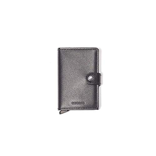 Black Mini Wallet -  Secrid mini wallet genuine black leather with RFID protection / with one click all cards slide out gradually