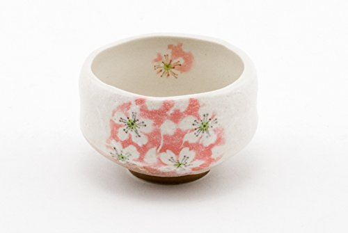 Authentic Japanese Traditional Tea Ceremony Matcha Bowl Chawan Textured Glaze Floral Design Handcrafted in Japan (Cherry Blossom Sakura)