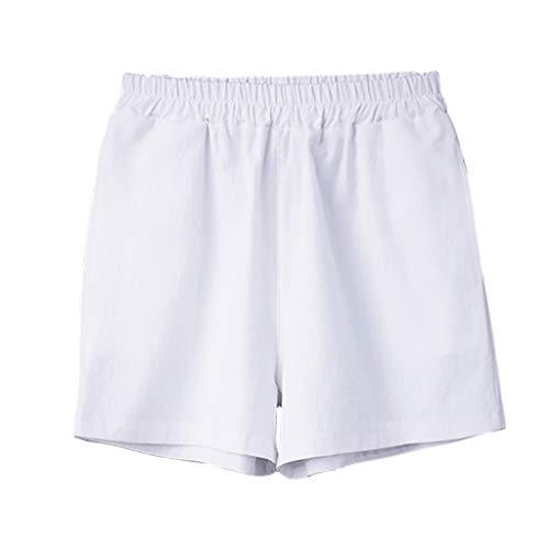 ecf8e3ef62 MOSERIAN Women's Pants Summer Cotton Shorts Casual Sports Pants Cotton  Stretch Shorts White