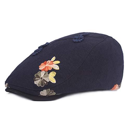 Lady's Newsboy Caps Cotton Linen Ivy Cap Floral Decoration Beret Flat Hats
