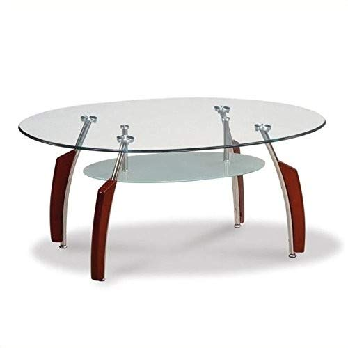 Global Furniture Clear/Silver Occasional Coffee Table with Mahogany Legs
