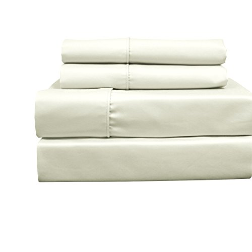 Solid Ivory Top Split King: Adjustable King Bed Size Sheets, 4PC Bed Sheet Set, Cotton blend 650 Thread Count, Sateen Solid, Deep Pocket