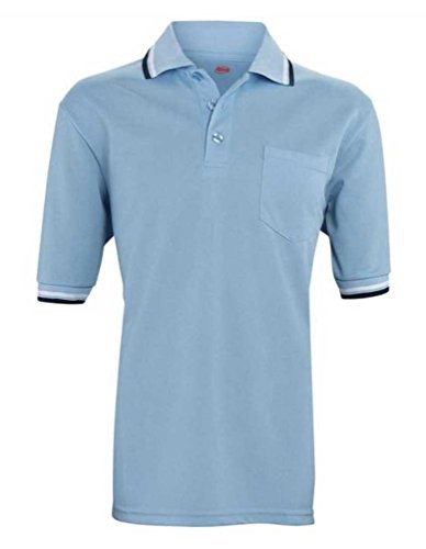 Adams USA Short Sleeve Baseball Umpire Shirt with Vent - Sized for Chest Protector, Powder Blue, Small ()