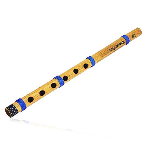 Unique 13 Inch Authentic Indian Wooden Bamboo Flute in 'C' Key Fipple Woodwind Musical Instrument Recorder Traditional Bansuri Hand Crafted Novelty Items Men Women Kids ()