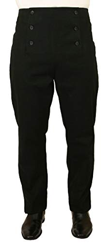 Historical Emporium Men's High Waist Brushed Cotton Regency Fall Front Trousers 32 ()