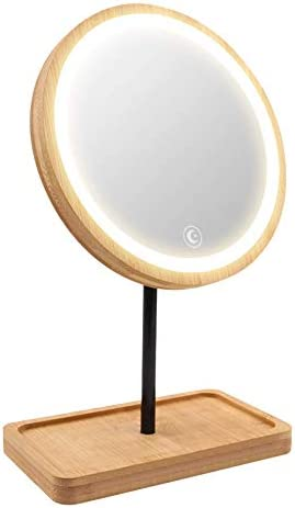 Kimikata Lighted LED Makeup Mirror Vanity Mirror with 3 Color Lights, Cordless USB Rechargeable Battery, 360° Rotation, Bamboo Wood Beauty Storage Tray, Tabletop Stand, Dimmable Circular Light Ring