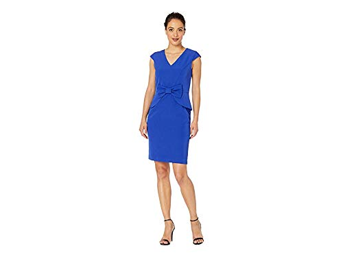 (Tahari by ASL Women's Petite Cap Sleeve Stretch Crepe Dress with Bow Detail Royal 16 Petite)