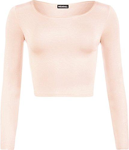 WearAll Women's Crop Long Sleeve Ladies Plain T-Shirt Top - Nude - US 8-10 (UK 12-14)