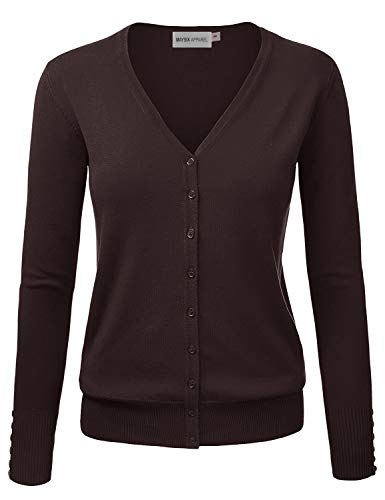 MAYSIX APPAREL Womens Long Sleeve Button Down V-Neck Knit Sweater Cardigan Brown L
