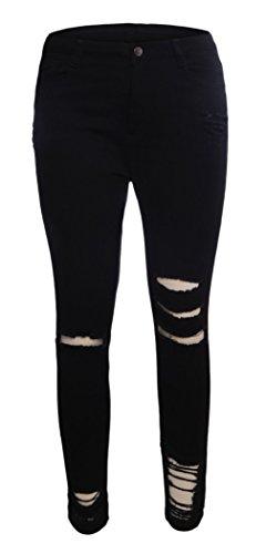 Stretch Taille Trous Long Skinny Femme Y Dchir Denim Haute Noir BOA Pantalon Jeans qPCFSg