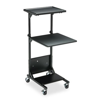 Adjustable Height Projection Stand, Three-Shelf, 18w x 20d x 42h, Black, Sold as 1 Each ()