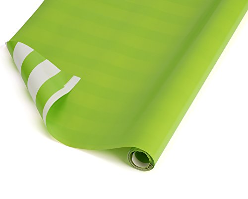 American Greetings Revsersible Wrapping Paper, Lime Green and White with Lime Green Stripes, 2.5' x 12' (068981045977)