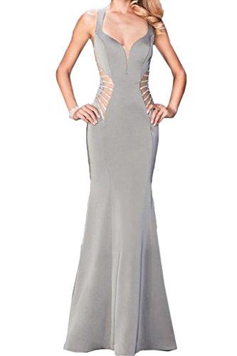 Abendkleid Modisch Damen Festkleid Ivydressing Lang Chiffon Etui Partykleid Silber Promkleid Ballkleid Linie g6cS1vBq