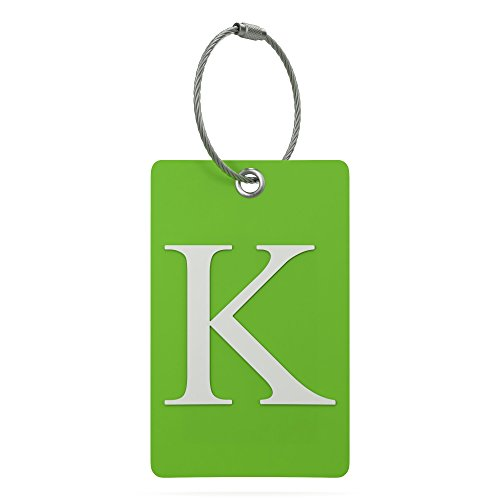 Luggage Tag Initial - Fully Bendable Tag w/Stainless Steel Loop (Letter K)