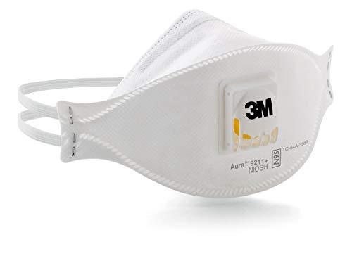 3M Aura Particulate Respirator 9211+/37193(AAD) N95, Stapled Flat Fold Disposable, Exhalation Valve (Case of - Occupational White Box