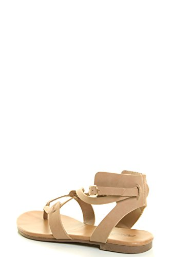 Breckelles Womens Open Toe Ankle Strap Cage Cutout Flat Strappy Flats-Sandals, Natural PU, 6.5