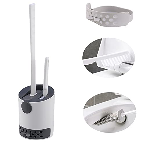 Silicone Toilet Brush,Toilet Brush No Dead Ends To Wash The Toilet Silicone Brush Hanging Type (dark grey, 2 IN 1)