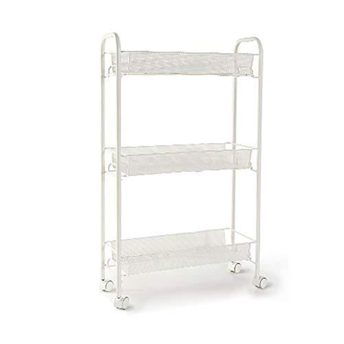 3-Tier Kitchen Quilted Storage Shelf Mobile Storage Rack Refrigerator Side Multi-Function Plastic Angle Frame 48 * 17…