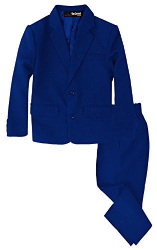 G218 Boys 2 Piece Suit Set Toddler to Teen (6, Royal) ()