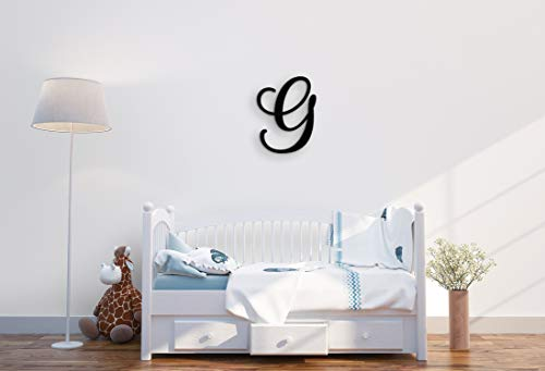 """XL Wall Letters Uppercase G   24"""" Wood Paintable Script Capital Letters for Nursery, Home Decor, Wedding Guest Book and More by ROOM STARTERS (G 24"""" Black 3/4"""" Thick)"""