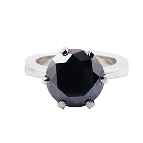 5 Carat Black Diamond Solitaire Silver Ring Buy Online Sale, Women's Ring by skyjewels