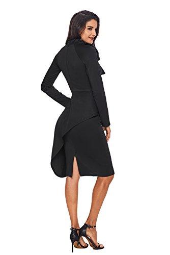 AlvaQ Women s Peplum Waist Tie Neck Long Sleeve Bodycon Midi Dress (S-2XL) b5ecefec8