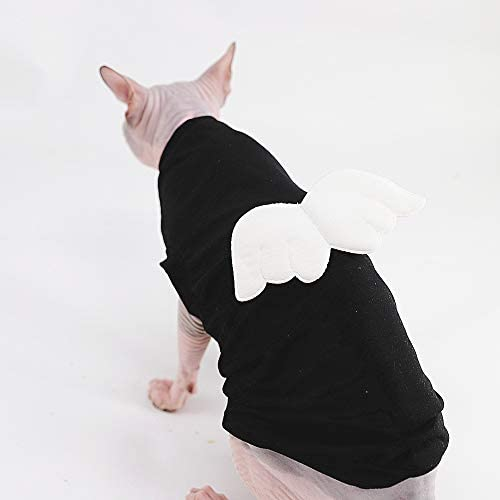 Sphynx Hairless Cat Cute Breathable Summer Cotton Dress Skirt Shirts with Wings Pet Clothes,Round Collar Kitten T-Shirts with Sleeves, Cats & Small Dogs Apparel 23