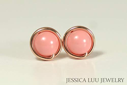Rose Gold Pink Coral Stud Earrings Swarovski Pearl Earrings Wire Wrapped Rose Gold - Gold 14k Ring Coral
