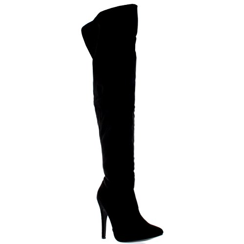 Womens Platform Stretch High Heels Stiletto Over The Knee Thigh Boots - Black Suede - US7/EU38 - KL0049J
