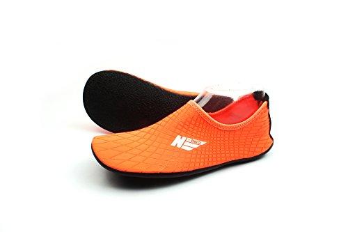 WOWFOOT Wassersport Skin Schuhe Erwachsene Kinder Slip auf Aqua Barfuß Strand Socken Surf Pool Durable Outsole Orange