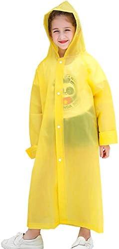 VCOSTORE Kids Rain Coat Transparent Rain Poncho Wrinkle Free Hood Rainwear for Boys Girls Age 3-12