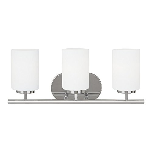 162-05 Oslo Three-Light Bath or Wall Light Fixture with Cased Opal Etched Glass Shades, Chrome Finish (Sea Gull Lighting Bathroom Bulbs)