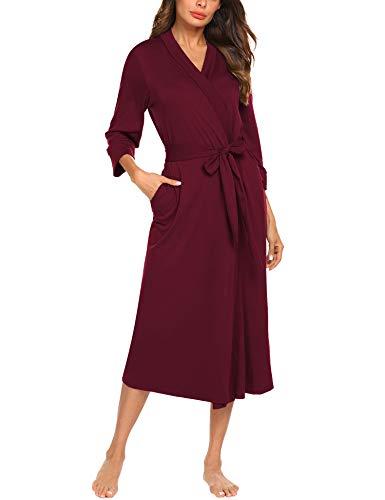 MAXMODA Women Cotton Hospital Robes Lightweight Robe Long Knit Bathrobe Soft Sleepwear (Burgundy,S)