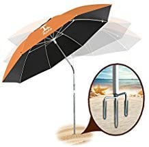 AosKe Patio Umbrella or Beach Umbrella Portable Windproof 360 Tilt Mechanism Resistance to 100 Harmful Sunlight