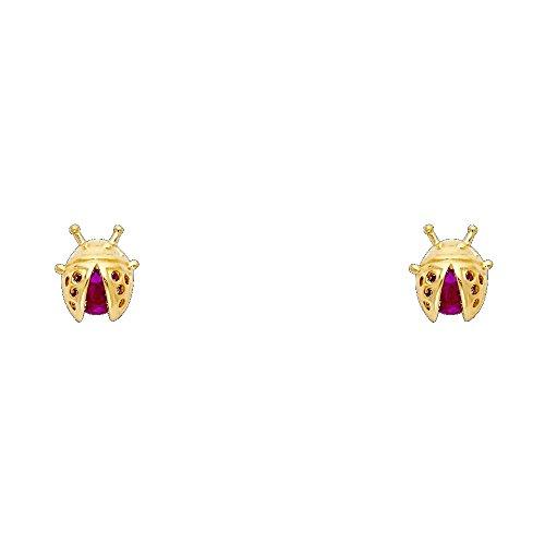 Solid 14K Yellow Gold Lady Bug Ruby Cubic Zirconia Stud Earrings Screw-Back 14k Yellow Gold Ladybug
