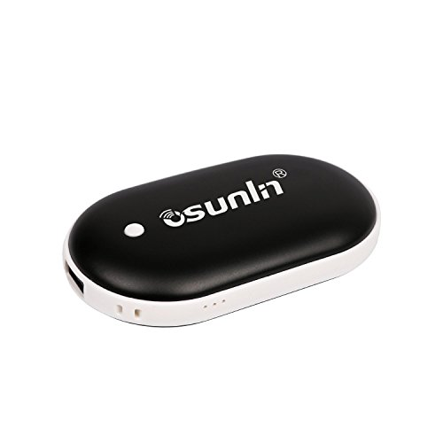 Osunlin Rechargeable Hand Warmers, Electric Hand Warmer 5200mAh Powerbank Reusable Handwarmers, Portable USB Hand Warmer Heater Battery Pocket Warmer, Best Gifts for Men and Women in Cold Winter-Black