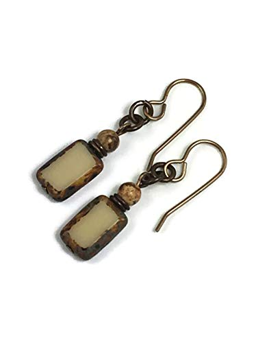 Brown Jasper Earrings - Tan Rectangles with Desert Jasper accent bead, rustic earrings with natural brass ear wires