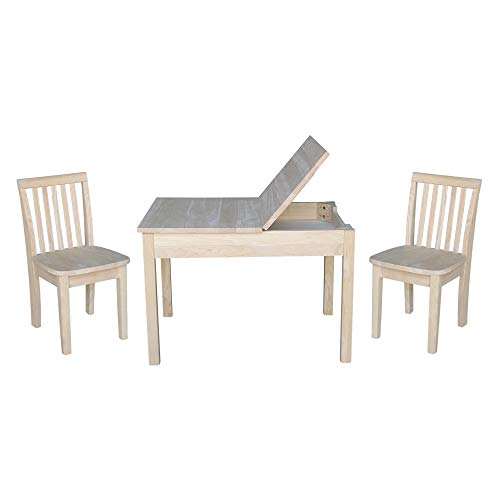 Overstock Kids Table with Lift Up Top and 2 Mission Juvenile Chairs - 3 Piece Set ()