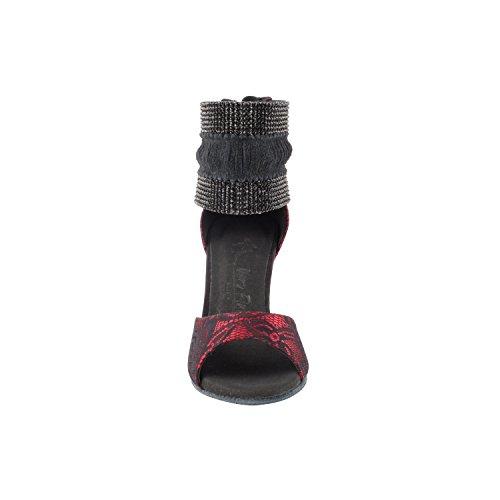 50 Tinten Rode Danskleedjes: Comfort Avondjurk Pumps, Ballroomschoenen Voor Latin, Tango, Salsa, Swing, Theather Kunst Met 50 Kleuren (2,5, 3 & 3,5 Hakken) 7003- Rood Satijn / Zwart Kant