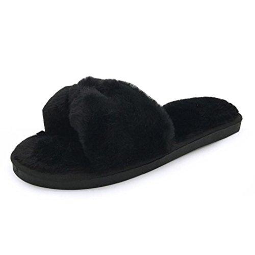 ed8f5aef29b6 Creazy Womens Flat soft Fluffy Faux Fur Flat Slipper Flip Flop Sandals Shoes  (40)