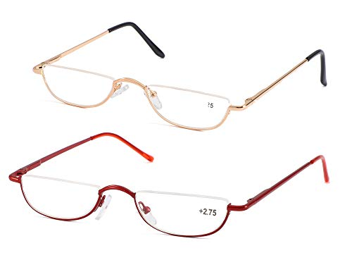 (SOOLALA Vintage Designer Alloy Flat Top Half Frame Stylish Slim Reading Glasses, GoldRed, 2.5)