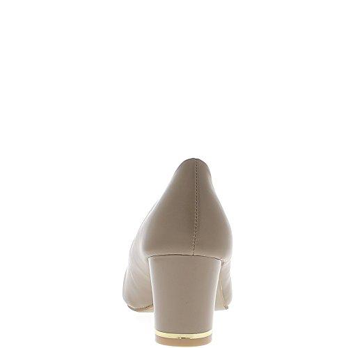 Escarpins rétros taupe à petits talons de 6cm