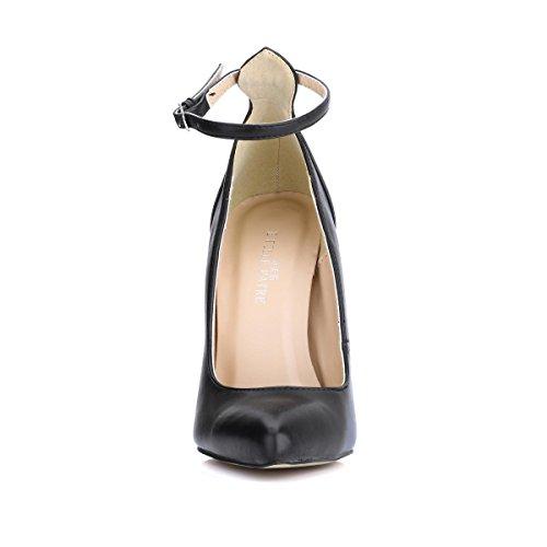 Tacones estrecha Negro 4CM Stiletto PU Premium para altos 12 Tacones Verano 4U® metalicos Best Sandalias mujer Primavera Punta 6qppfP