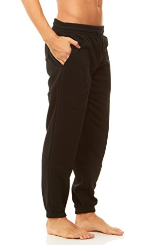 Unique Styles Mens Fleece Lined Athletic Sweatpants Pockets Drawstring Waistband (Medium, Black)