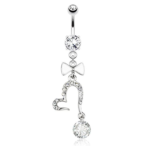 Pierced Owl Open Heart with Large Gem and White Enamel Bow Tie Dangle Belly Button Ring 316L 14g Navel Ring