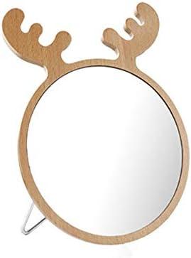 ポータブル化粧鏡 アントラー化粧鏡ホームデコレーションギフトのために娘と妻(イエロー) 回転式化粧鏡 (色 : 黄, Size