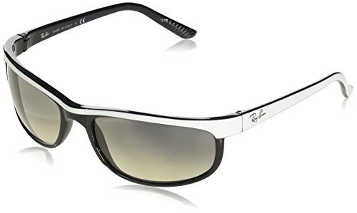 Ray-Ban Men's RB2027 Predator 2 Rectangular Sunglasses, Top White On Black/Clear Gradient Grey, 62 ()